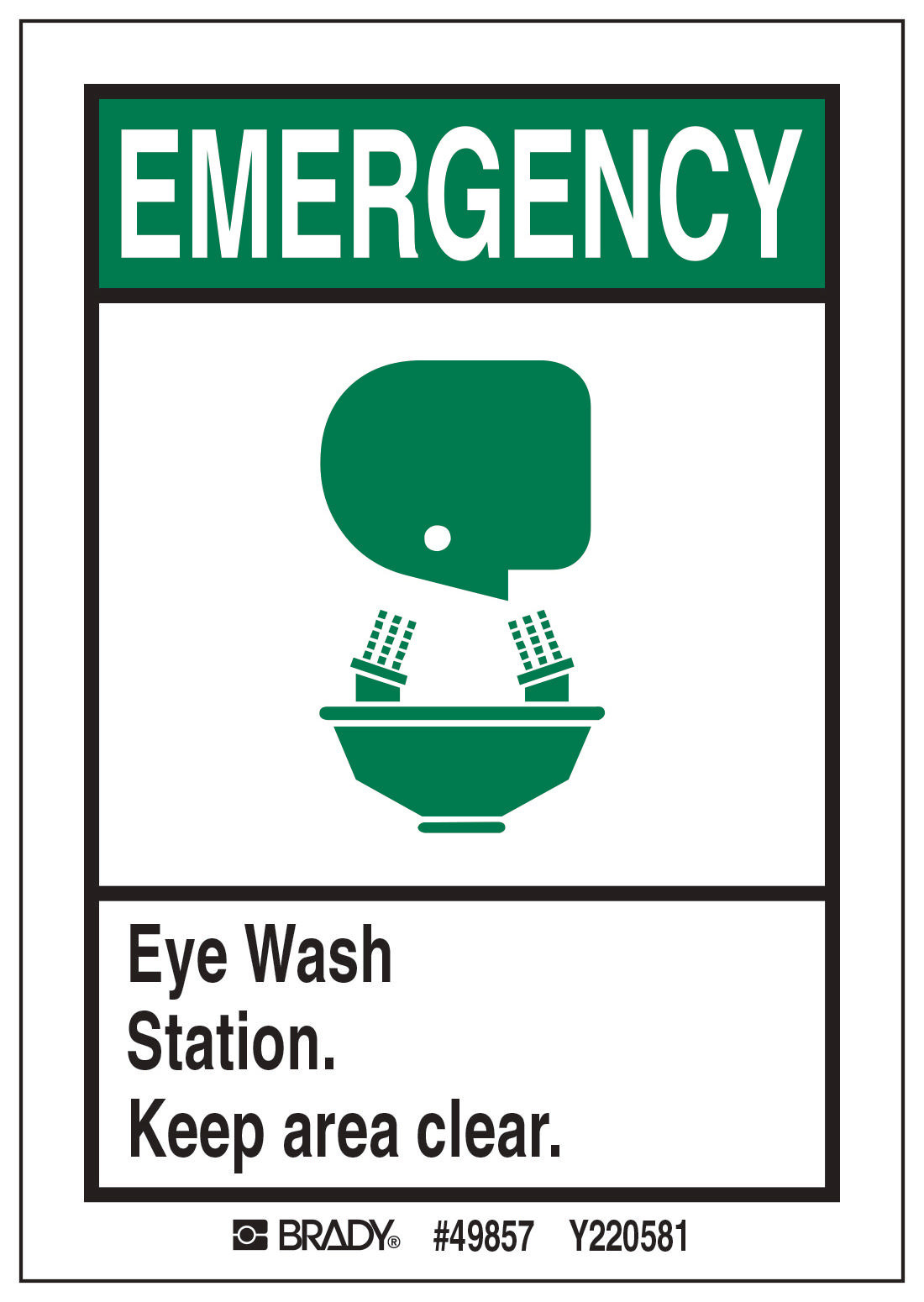 M EYE WASH STATION SIGN 5 Package 49857
