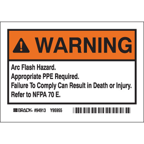 Arc Flash Warning Labels EL 1
